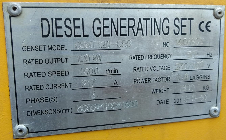 150 KVA Cummins Stamford Acoustic Used Generator information
