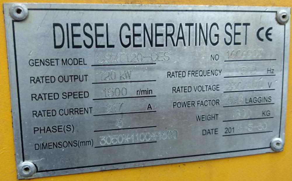 150 KVA Cummins Stamford Acoustic Used Generator specs