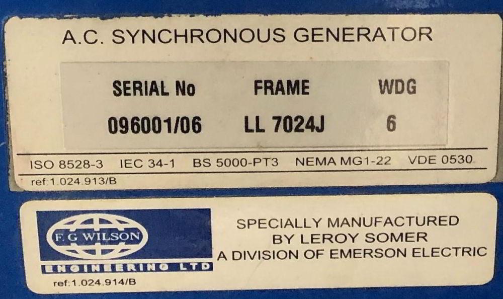 500 KVA F G Wilson Perkins Leroy Somer Acoustic Generator information