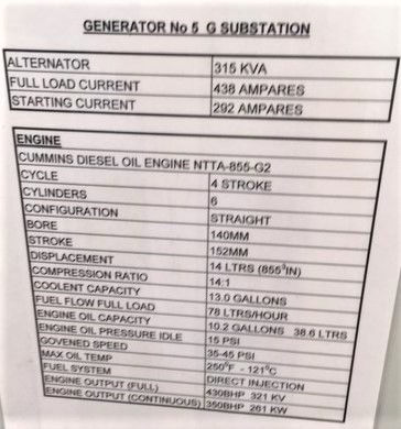 315 Cummins Leroy Somer Diesel Generator specs