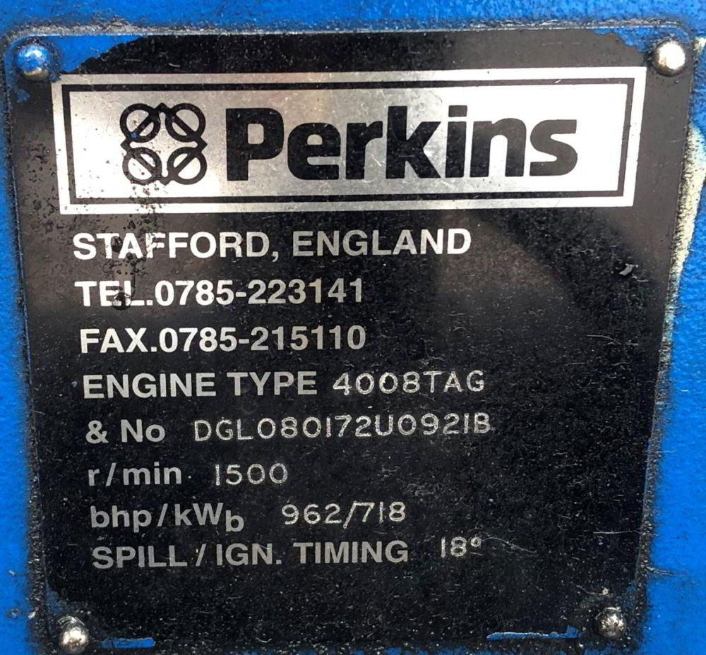 936 Kva Perkins Stamford Open Type Generator details