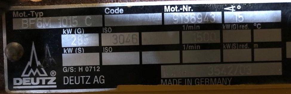 315 kVA Deutz Stamford Used Diesel Generator details