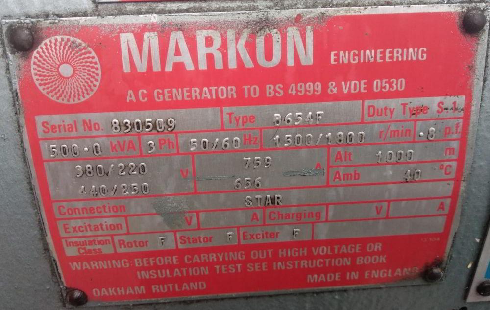 500 KVA Perkins Markon details 2