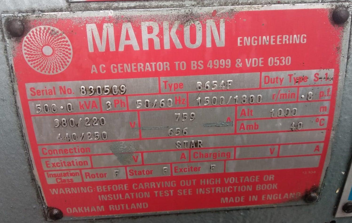 500 KVA Perkins Markon 6