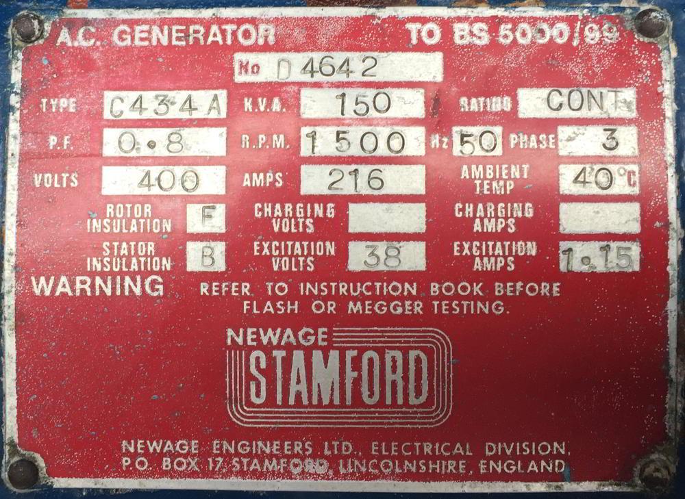 150 Kva Volvo Stamford Used Diesel Generator information
