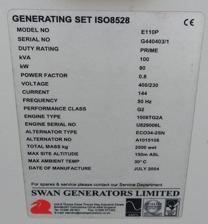 100 KVA Perkins MeccAlte Acoustic Generator 11