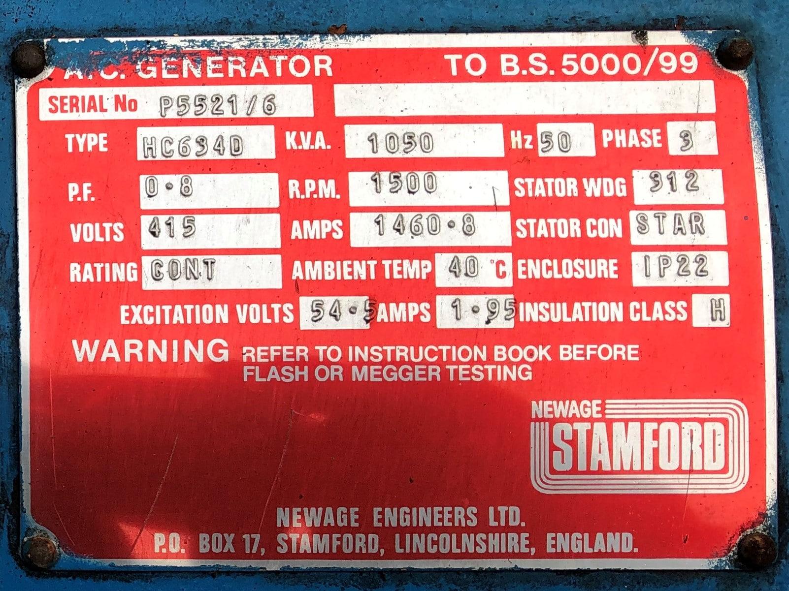 1050 Kva Dorman/Stamford Open Type Generator