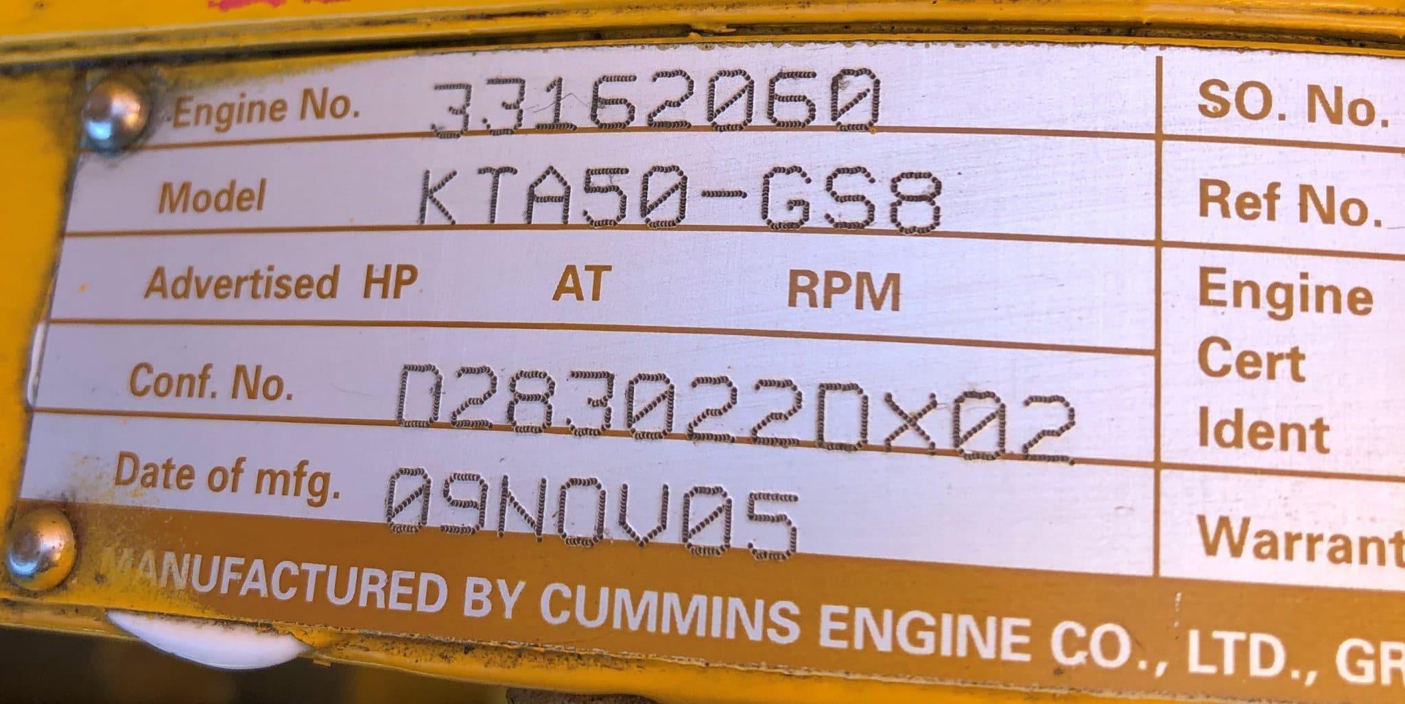 1500 KVA KTA50-GS5 Cummins/Stamford Generator 6