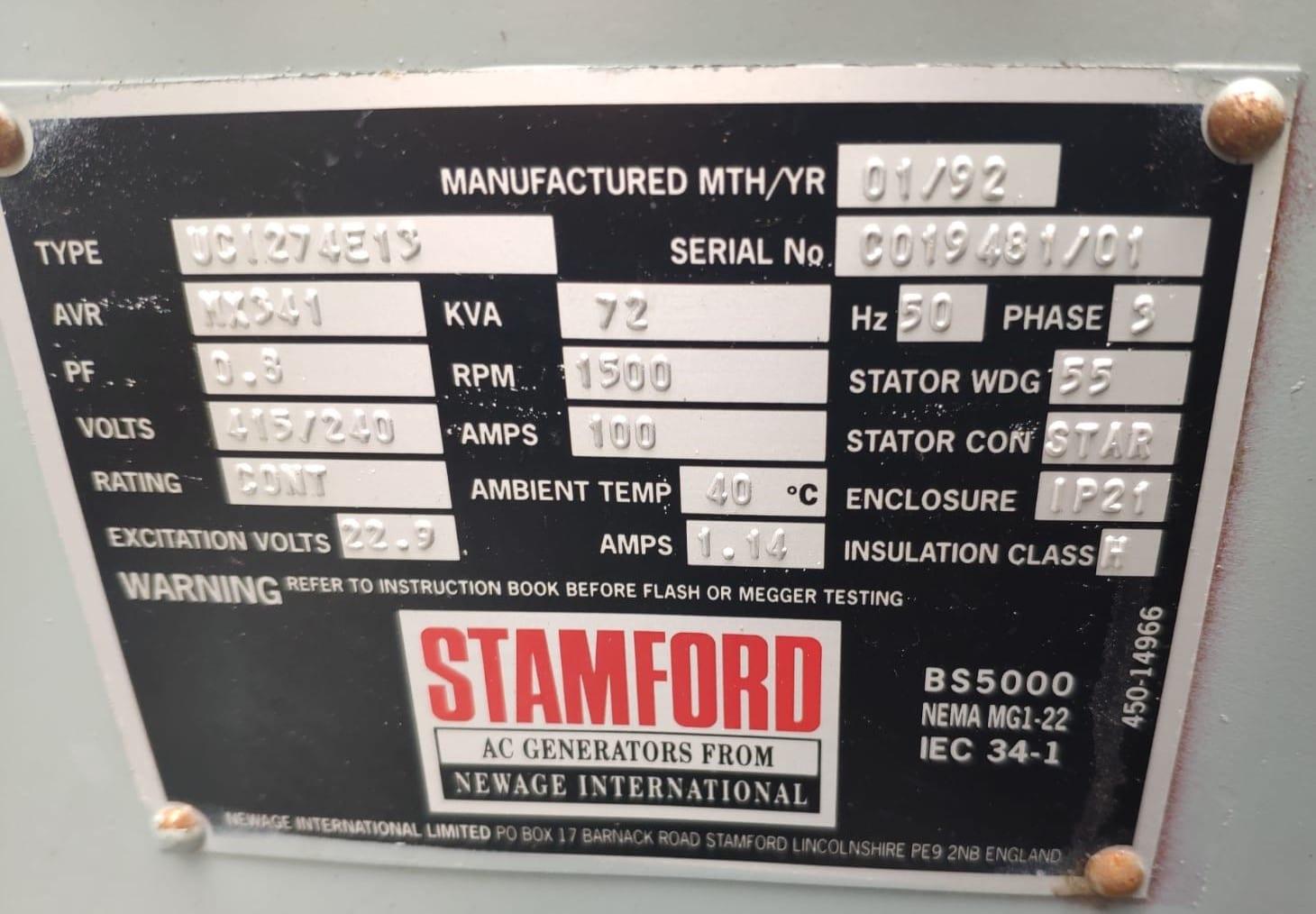 72 KVA Perkins Stamford Open Type Diesel Generator (BT Specs) 10