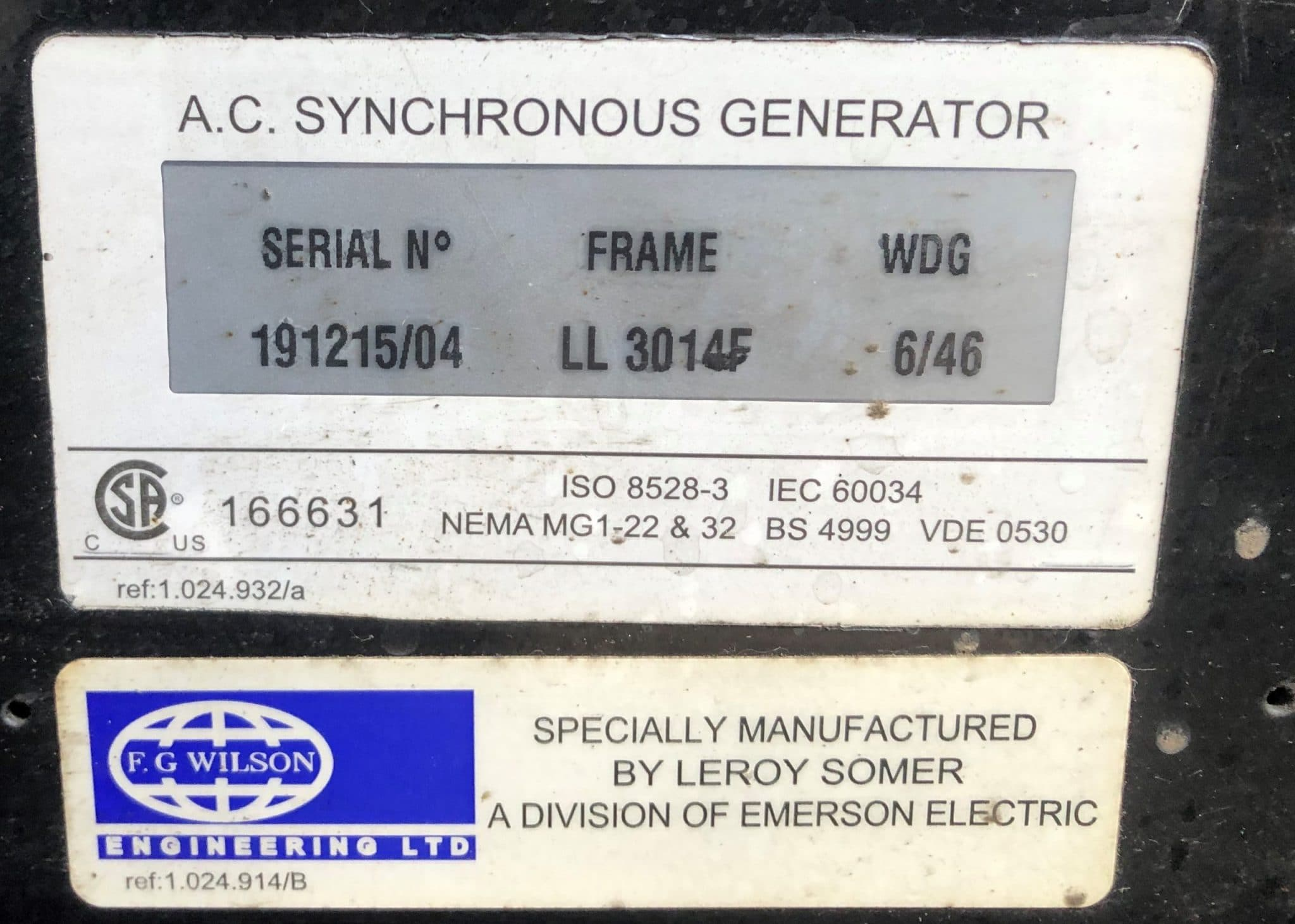150 Kva Perkins Leroy FG Wilson (Rental Specs) Acoustic Generator 12