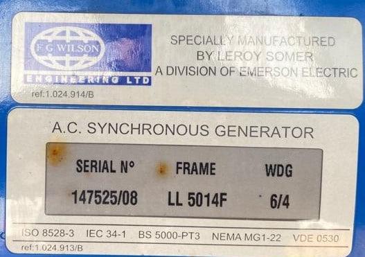 200 Kva FG Wilson Perkins/Leroy Somer Acoustic Generator details