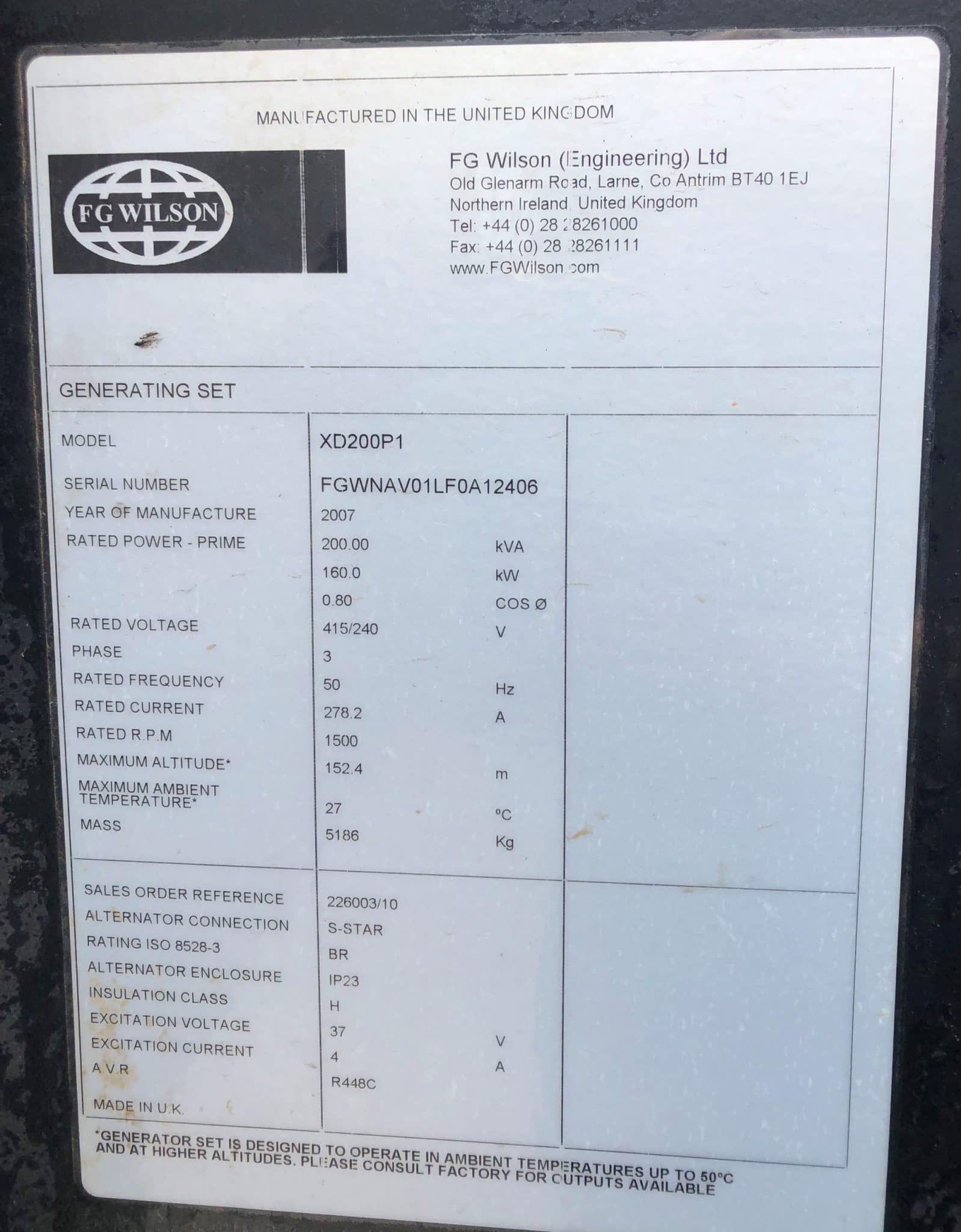200 Kva FG Wilson Perkins/Leroy Acoustic (Rental Specs) Generator for sale details