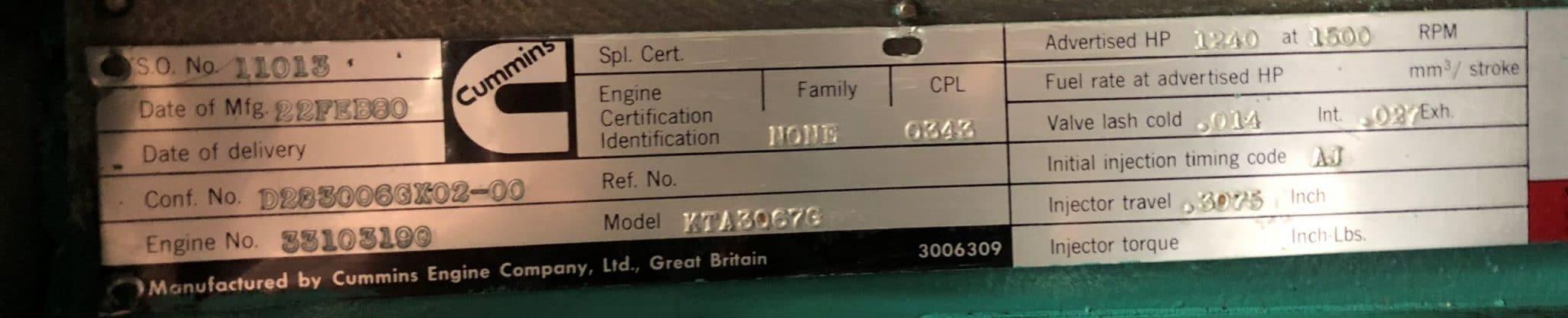1000 kVA Cummins KTTA-50-G Generator details