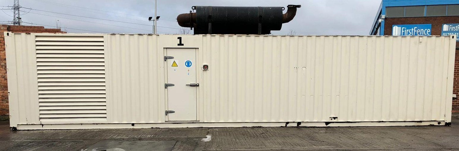 1000 kVA Cummins KTTA-50-G Generator Fitted in a 40ft Acoustic Container side view