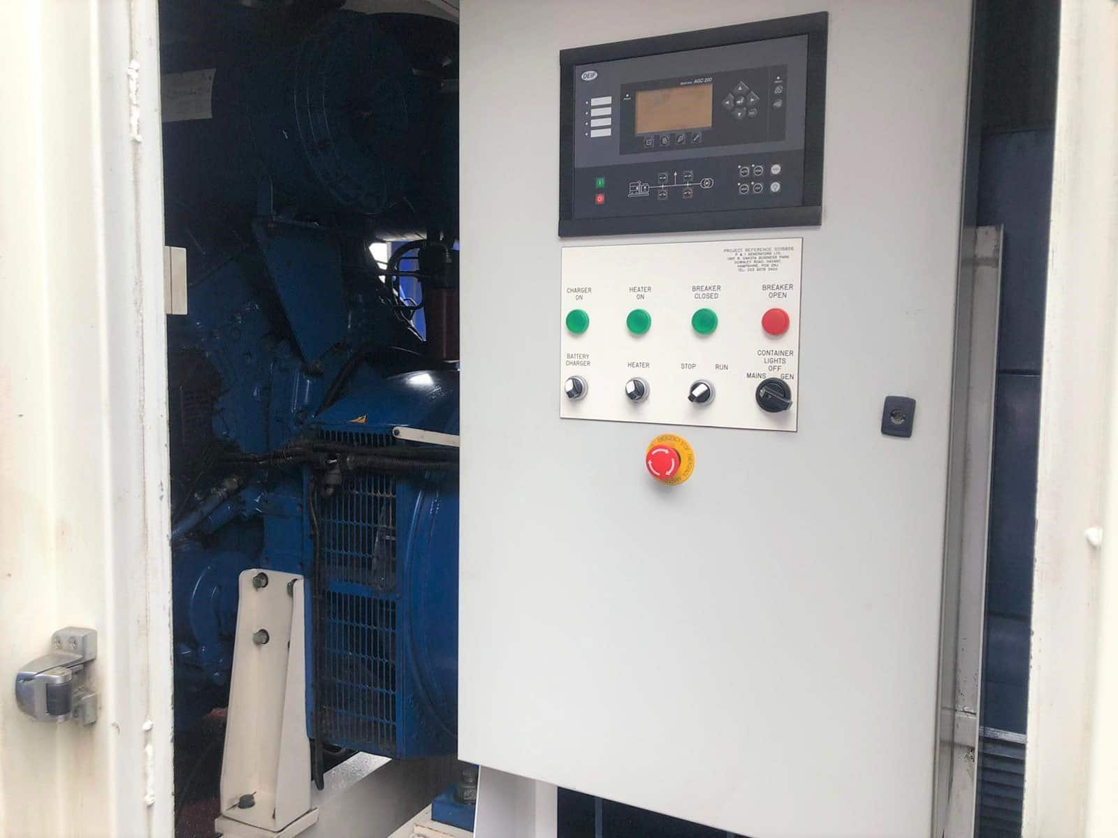 800 FG Wilson, Perkins/Stamford Generator control panel