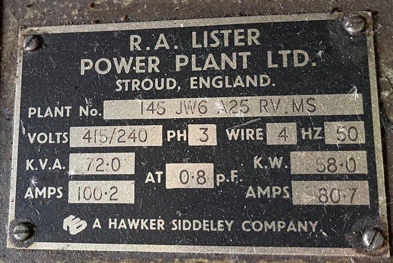 72 KVA Lister/ECC Open Type Generator details