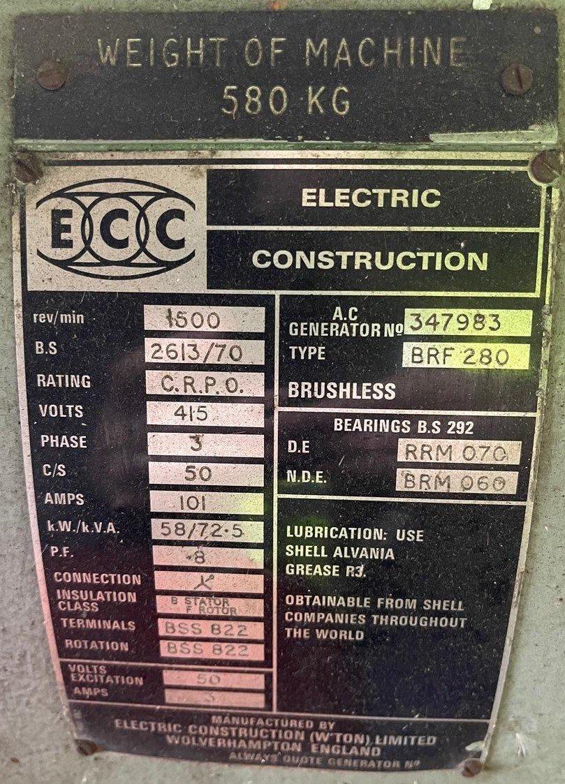 72 KVA Lister/ECC Open Type Generator details 2