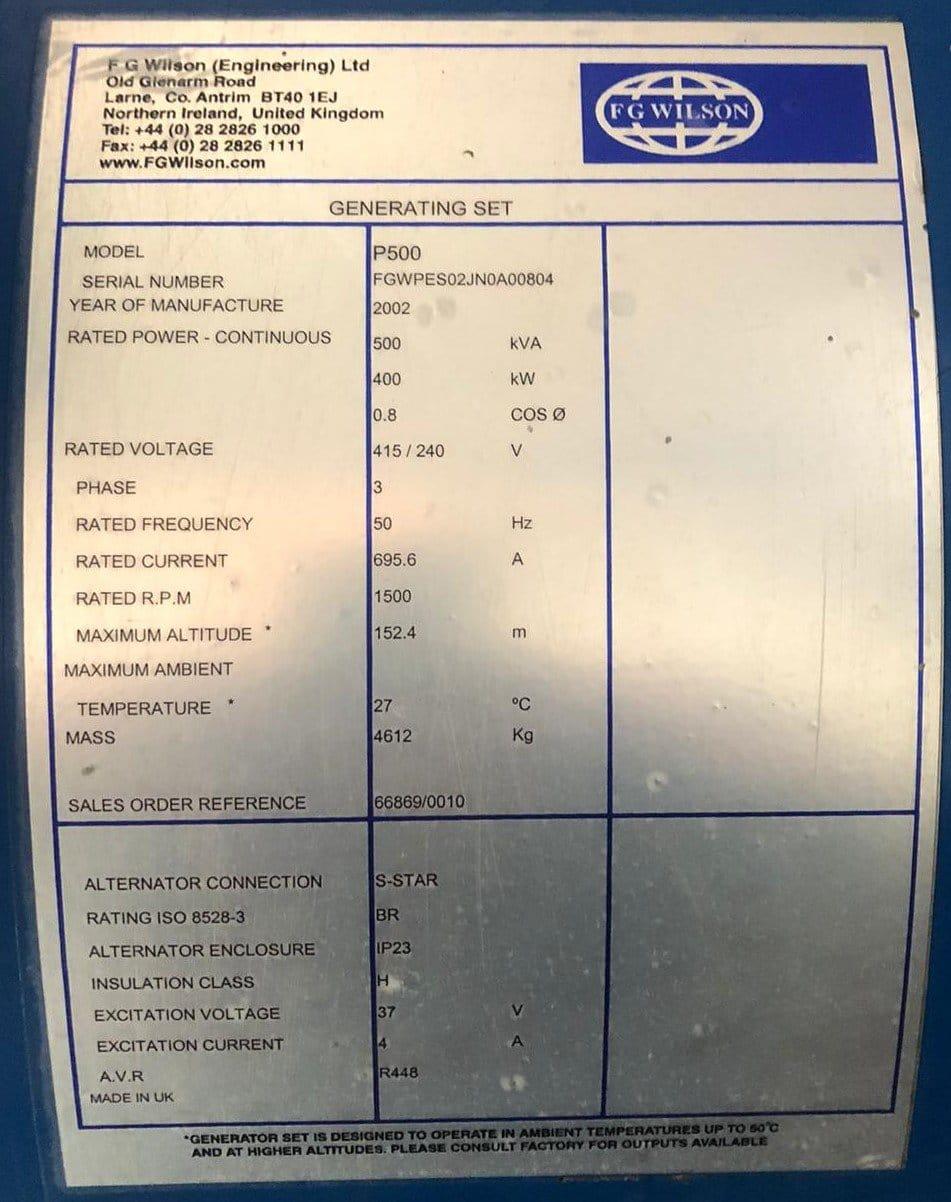 500 KVA FG Wilson Perkins/Leroy generator details