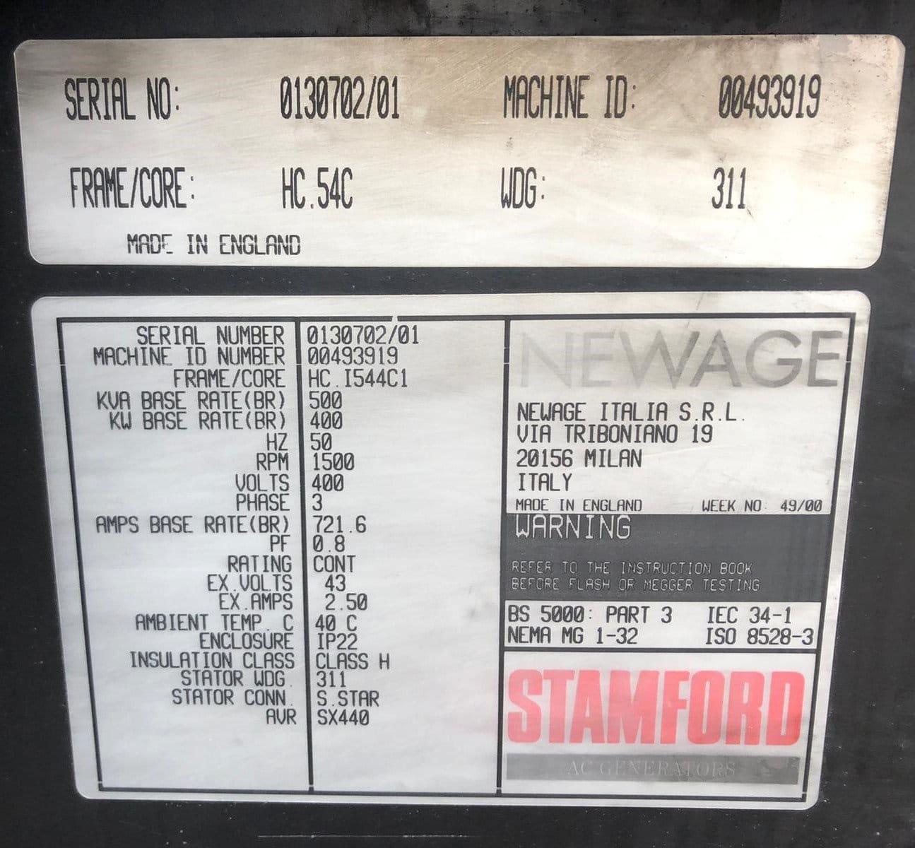 500 kVA Volvo/Stamford Acoustic Generator information